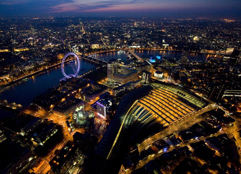 Ночной Лондон вид сверху